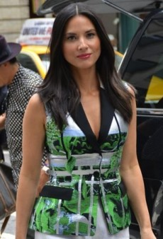 Olivia Munn Promotes Her Latest Project in Peter Pilotto Jacquard Separates
