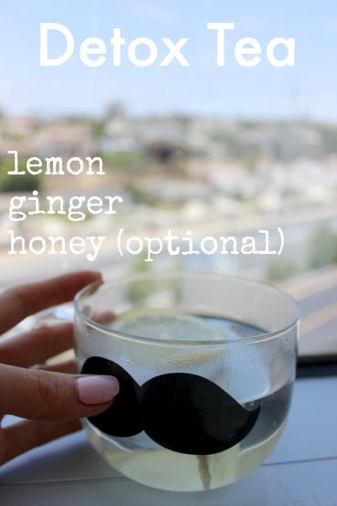 detox lemon ginger tea in a mustache cup