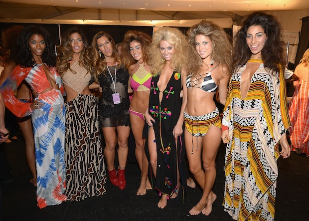 Models pose backstage at the Indah fashion show during Mercedes-Benz Fashion Week Swim 2015; Image: Getty