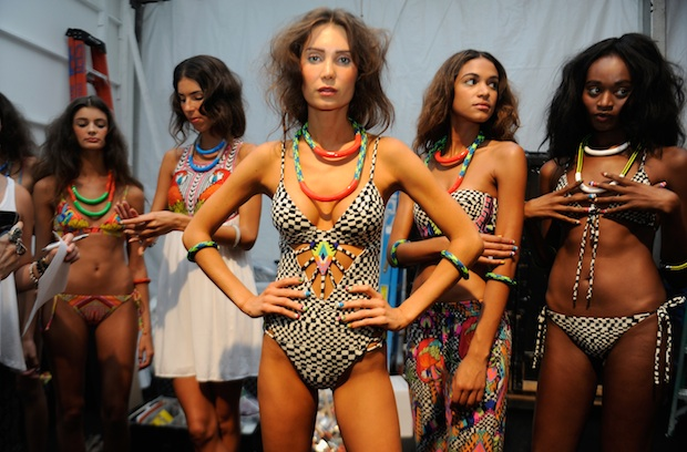 Models backstage at the Mara Hoffman Swim show
