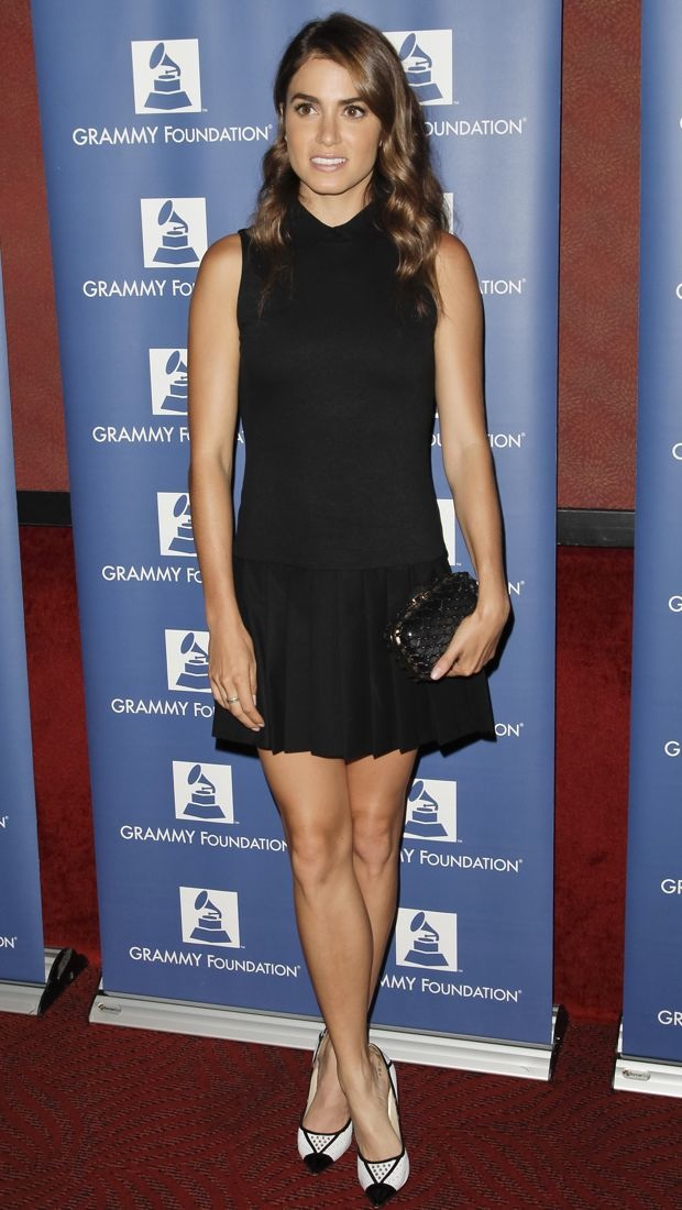 Nikki Reed steps out in a little black Alice + Olivia dress