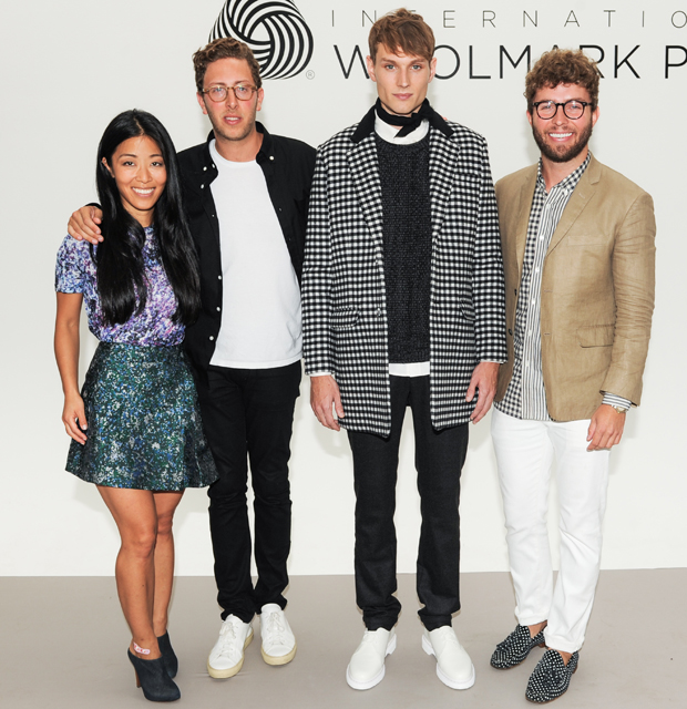 Donna Kang, Alan Eckstein and Timo Weiland with Model Woolmark