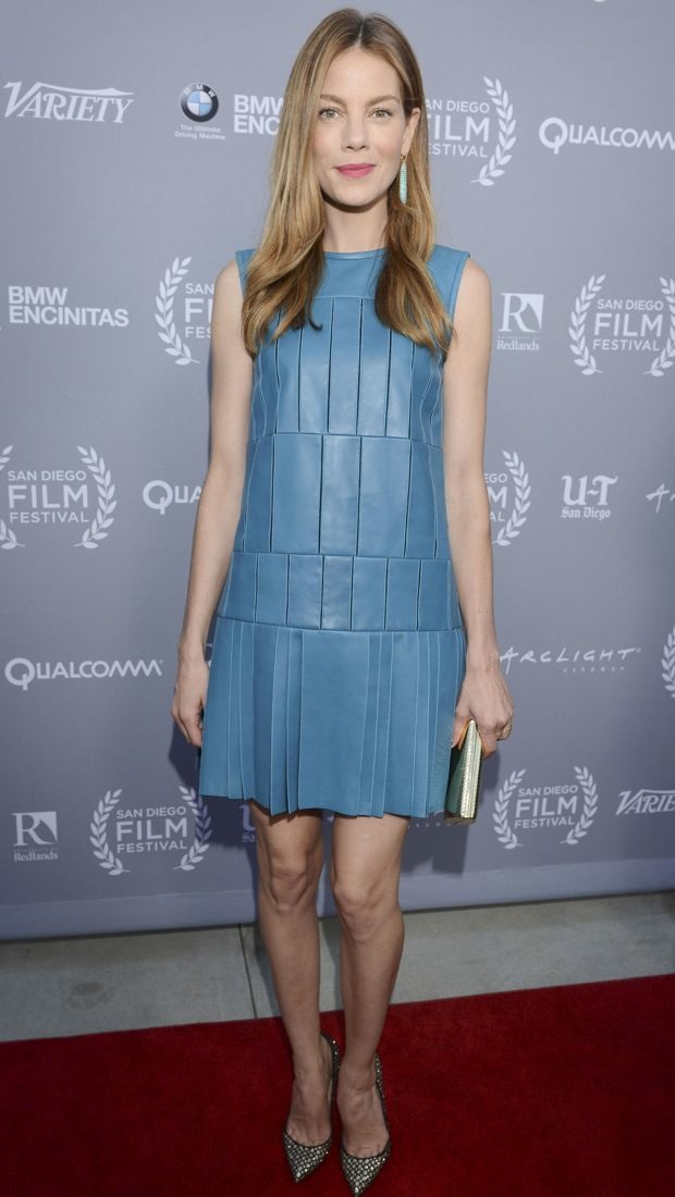 Michelle Monaghan wore a blue leather J. Mendel dress to the San Diego Film Festival