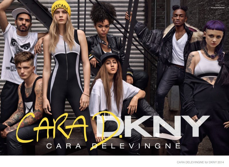 Ads for the Cara and DKNY collaboration