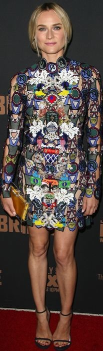 Diane Kruger wears an embroidered Mary Katrantzou dress