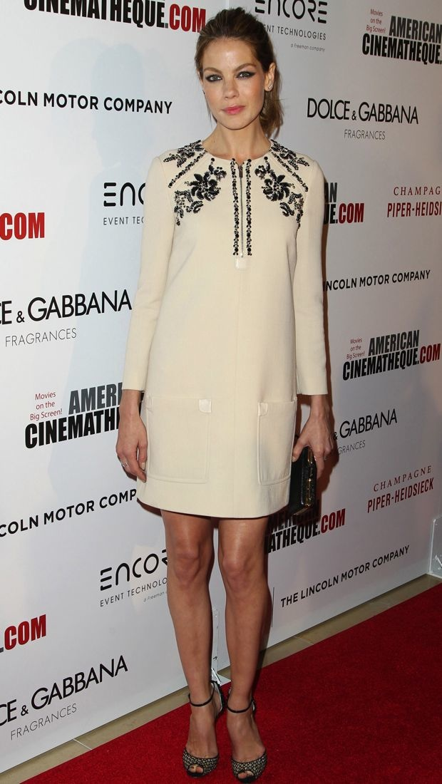 Michelle Monaghan wears an embellished Miu Miu dress