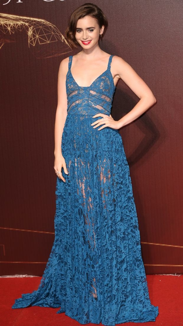 Lily Collins wears a lacy Elie Saab gown