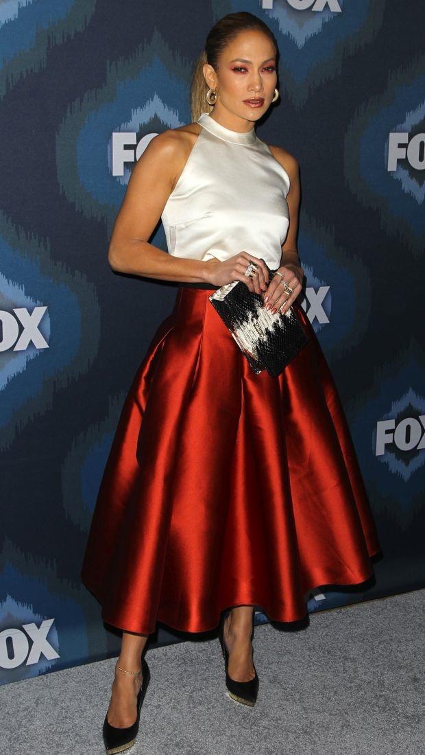 Jennifer Lopez in an old-school Noir Sachin & Babi skirt