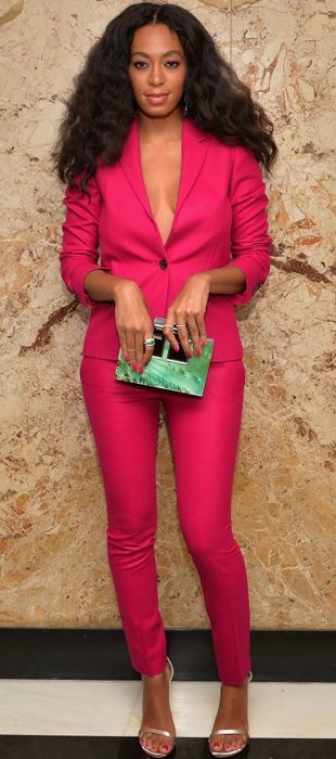 Solange Knowles sports a bright Gucci suit at Gucci Cosmetics launch
