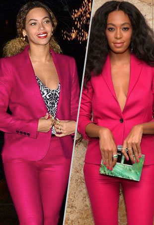 3e9ee3ea Style Showdown: Beyoncé and Solange Wear the Same Fuchsia Gucci Suit and  More Matching Celebs