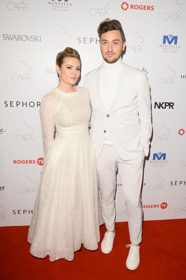 Elisha Cuthbert with designer Matthew Gallagher; Image: