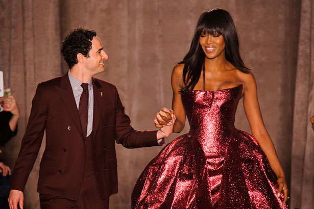 Zac Posen walks Naomi Campbell down Fall 2015 runway; Image: Imaxtree