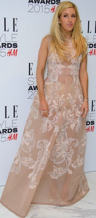 Ellie Goulding in a blush Alberta Ferretti gown at the ELLE Style Awards