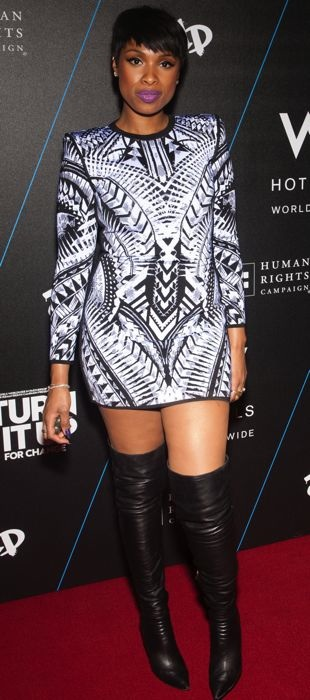 Jennifer Hudson wears a Balmain dress at the Turn It Up For Change Ball