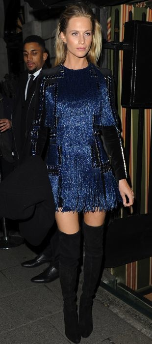 Poppy Delevingne wears a fringed Balmain dress to the brand's London store opening