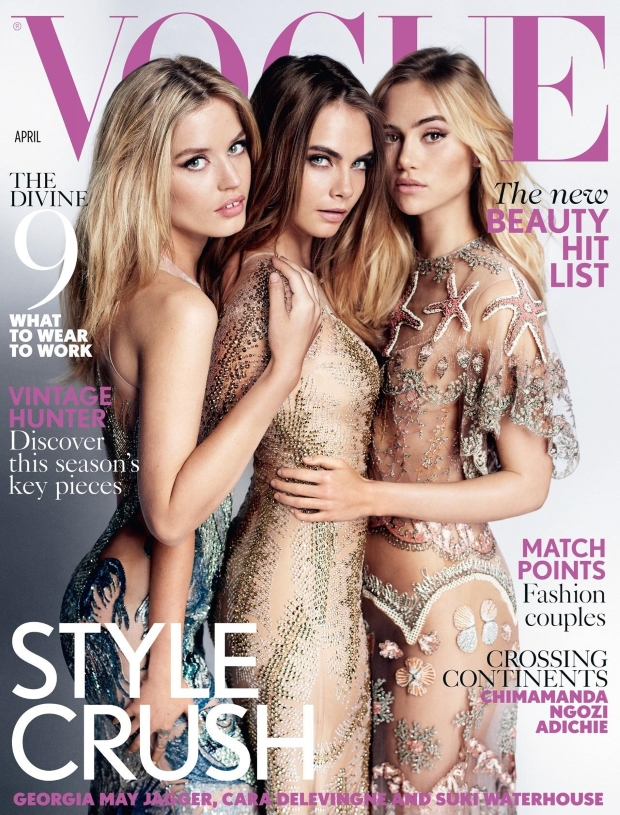 UK Vogue April 2015 Cara, Georgia & Suki Mario Testino