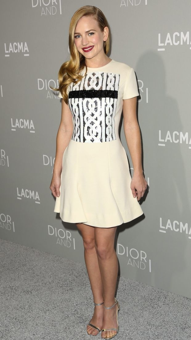 Britt Robertson wears an embellished Christian Dior dress to the premiere of