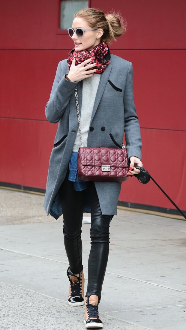Olivia Palermo walks her dog in a gray Whistles Tux Coat
