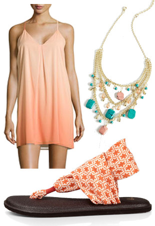 A coral ombre dress, melon Sanuk sandals, and a coral and turquoise necklace.