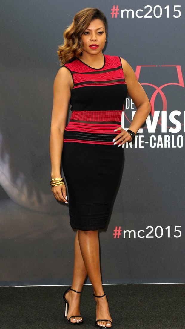 Taraji P. Henson strikes a pose in a red and black RVN dress at the 55th Monte Carlo Television Festival