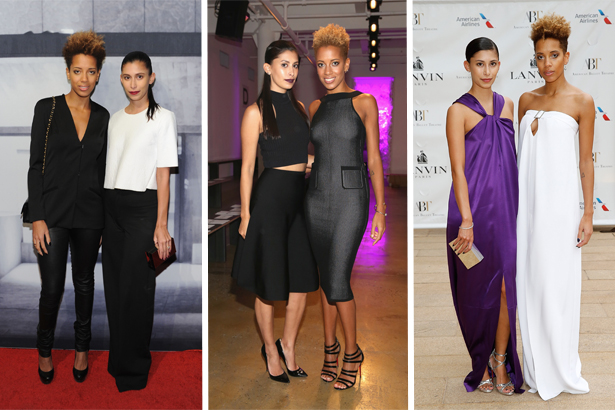 Carly Cushnie and Michelle Ochs of Cushnie et Ochs wearing matching outfits