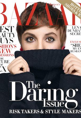 Lena Dunham on the cover of November 2015 Harper's Bazaar