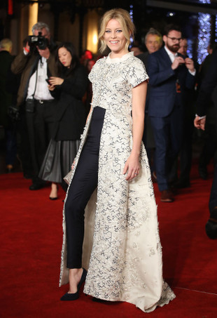 Elizabeth Banks wearing a Razan Alazzouni dress over pants.