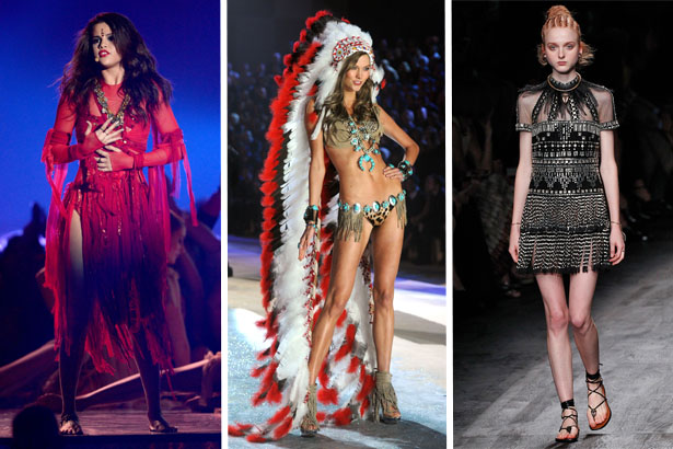 Selena Gomez wears a bindi, Karlie Kloss wears a headdress for Victoria's Secret, Valentino Spring 2016 runway model wears cornrows