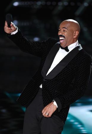 Television personality Steve Harvey hosts the 2015 Miss Universe Pageant at The Axis at Planet Hollywood Resort