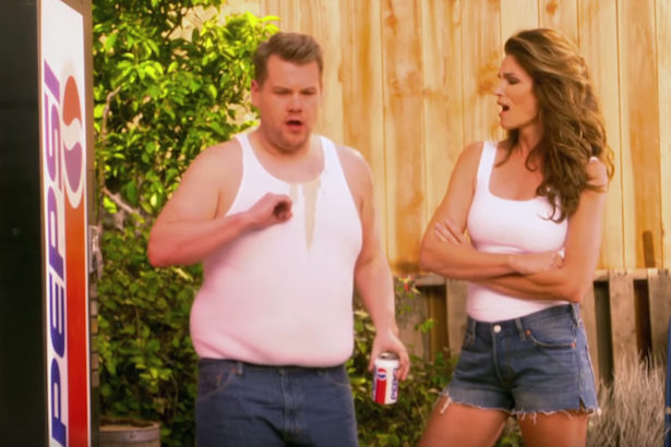 James Corden and Cindy Crawford