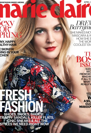 US Marie Claire April 2016 : Drew Barrymore by David Slijper
