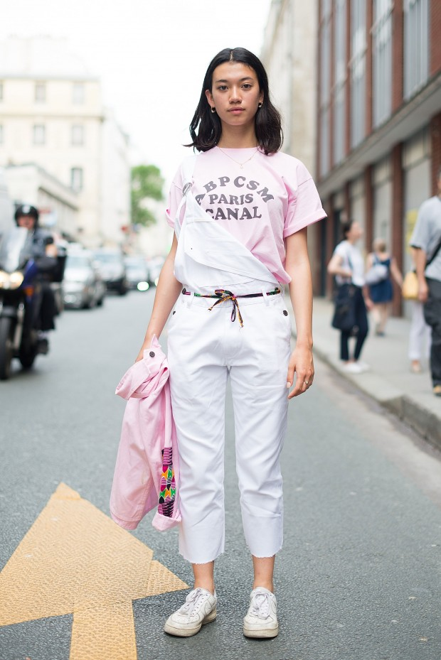 Overalls were a street style staple at the recent Paris menswear shows.