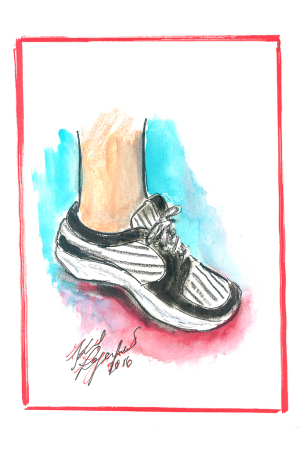 A sketch of Karl Lagerfeld's new customized sneakers.