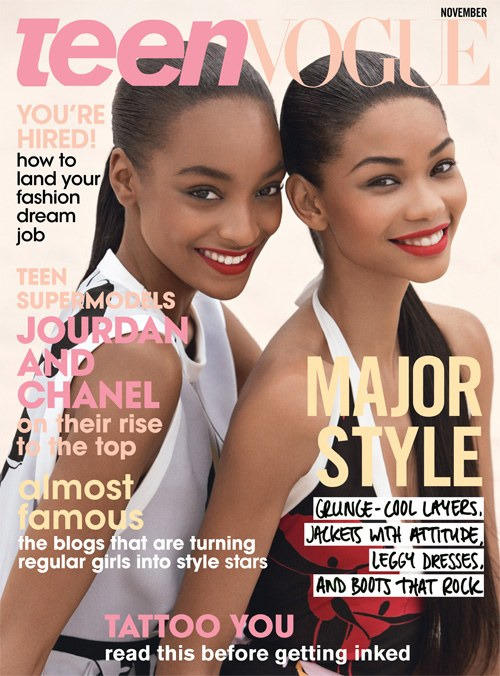 Jourdan Dunn and Chanel Iman's 2009 Teen Vogue cover issue.