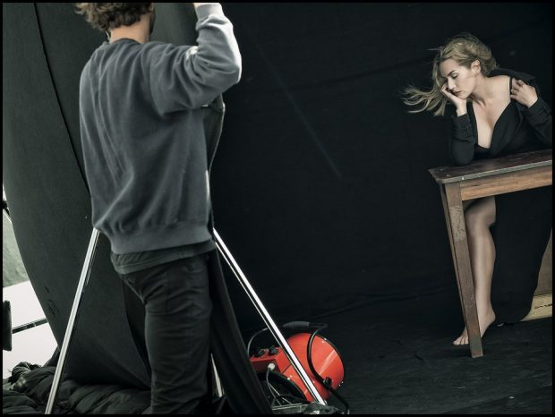 A behind the scenes shot of Kate Winslet posing for Peter Lindbergh.