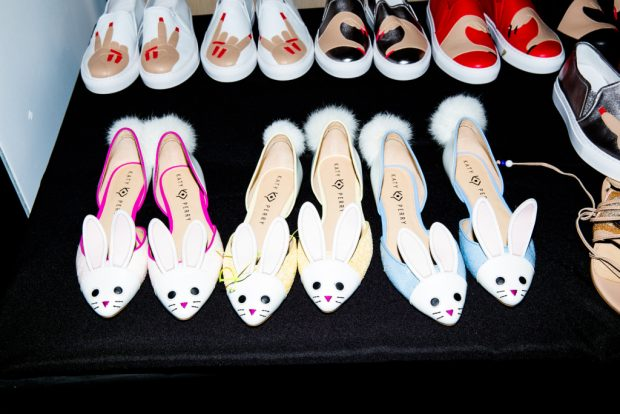 Katy Perry's new shoe line includes bushy-tailed d'Orsay flats.