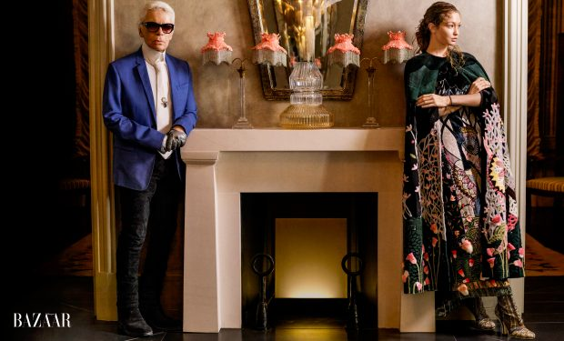 Gigi Hadid and Karl Lagerfeld pose in the November 2016 issue of Harper's Bazaar.