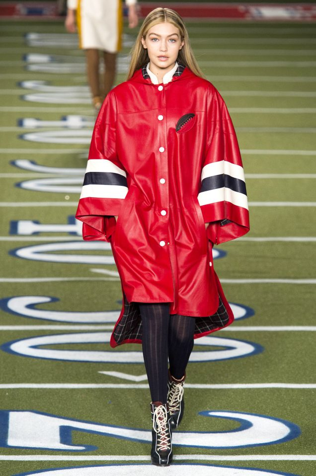 Gigi Hadid in the best-selling poncho on the Tommy Hilfiger Fall 2015 runway.