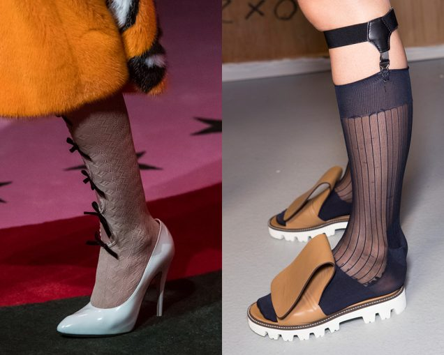 Fun socks on the runway at Gucci Spring 2017, Daks Spring 2017; Images: Imaxtree