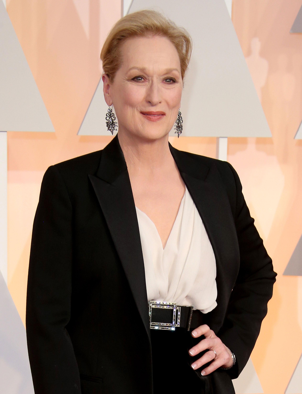 Meryl Streep arrives at the 87th Annual Academy Awards.