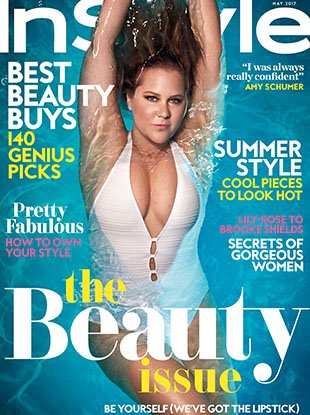 Amy Schumer covers the May 2017 edition of InStyle, the glossy's first-ever beauty issue.