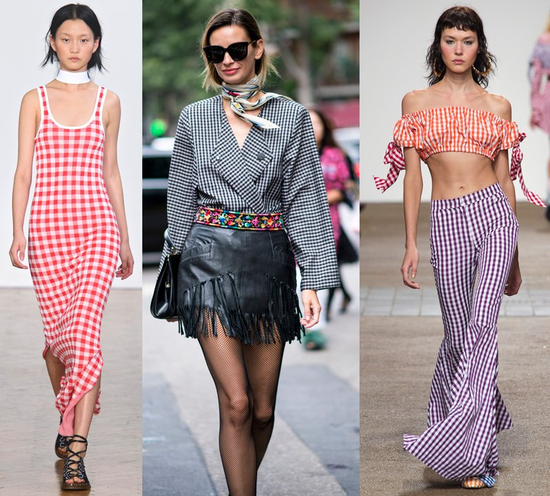 gingham fashion trend at Pringle of Scotland Spring 2017, Street Style Look, House of Holland Spring 2017