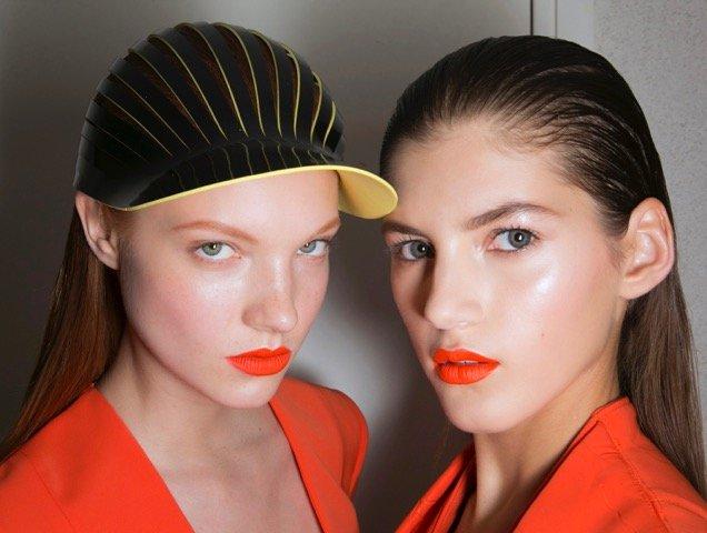 john-galliano-spring-2014-orange-lip-glossy-skin-hat
