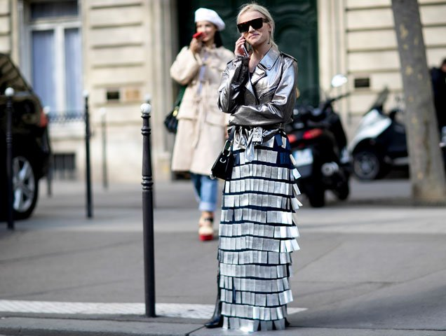 Silver outfit from Paris Street Style Spring 2017