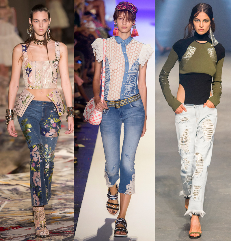 Low-rise jeans on the Alexander McQueen, Desigual and Versus Versace Spring 2017 runways