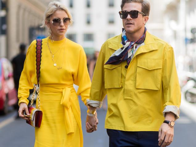 Caroline Daur wearing layered pendant necklaces outside Salvatore Ferragamo during Milan Men's Fashion Week Spring 2018