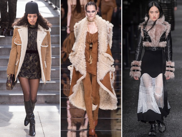 Marc Jacobs, Balmain and Alexander McQueen's shearling jackets and coats for Fall 2017.