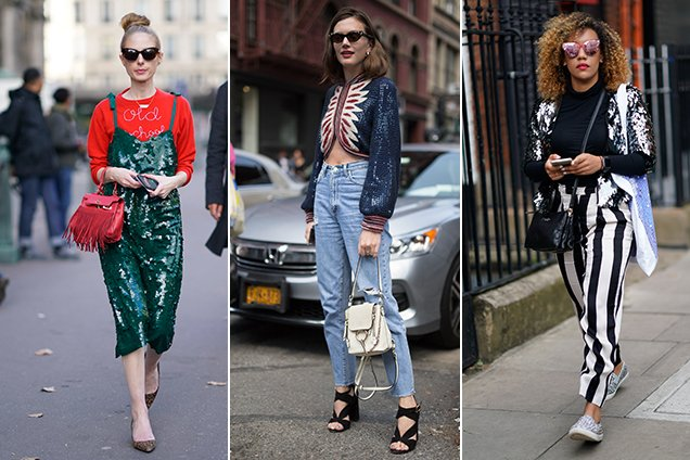 sequins worn by street style stars