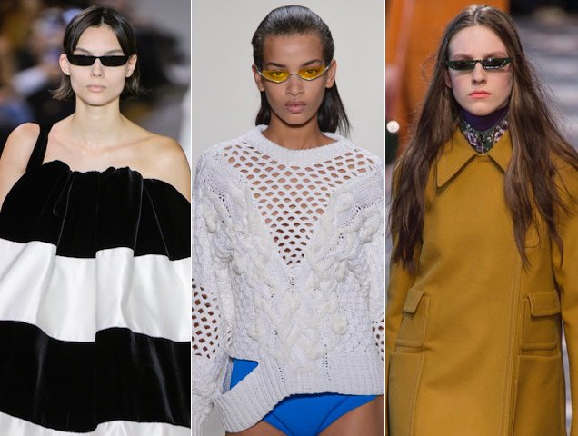 Small sunglasses have been all over the runways.