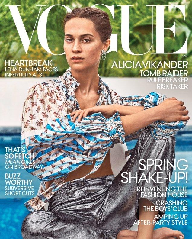 US Vogue March 2018 : Alicia Vikander by Steven Klein